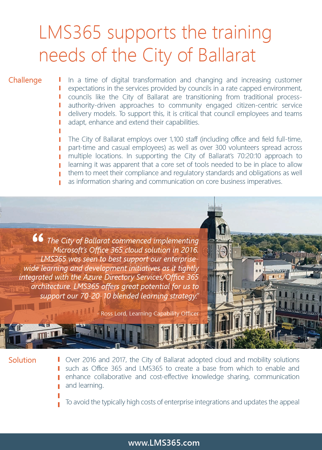 Screenshot of LMS365 Case Study of City of Ballarat